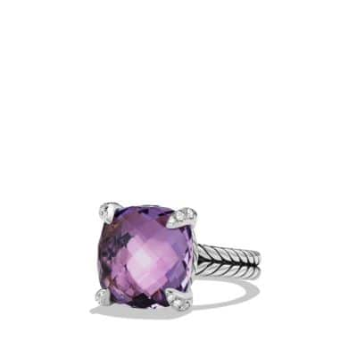 Châtelaine Ring with Amethyst and Diamonds, 14mm