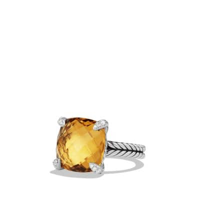 Ring with Citrine and Diamonds, 14mm