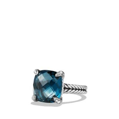 Châtelaine Ring with Hampton Blue Topaz and Diamonds, 14mm