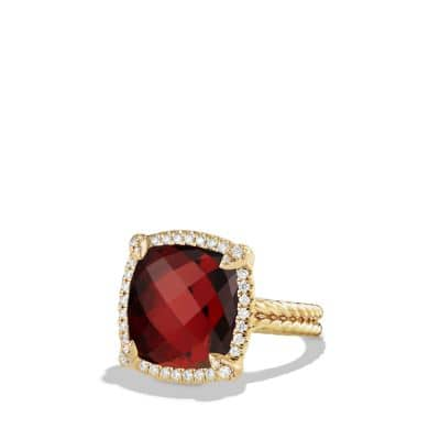 Chatelaine Pave Bezel Ring with Garnet and Diamonds in 18K Gold, 14mm