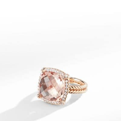 Chatelaine Pave Bezel Ring In 18 K Rose Gold, 14mm by David Yurman