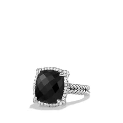 Chatelaine Pave Bezel Ring with Black Onyx and Diamonds, 14mm