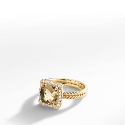 Châtelaine Pave Bezel Ring with Champagne Citrine and Diamonds in 18K Gold, 9mm