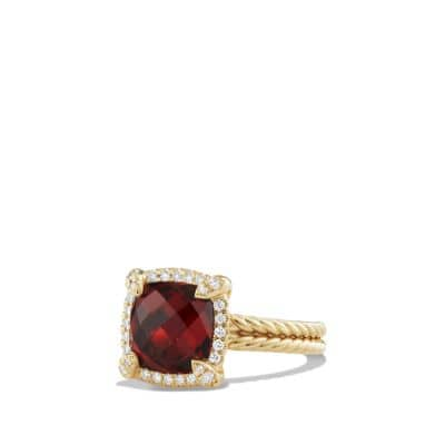 Châtelaine Pave Bezel Ring with Garnet and Diamonds in 18K Gold, 9mm