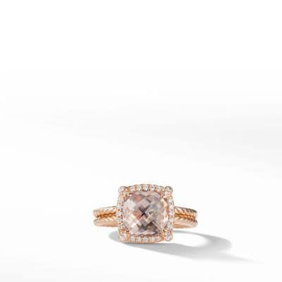 Chatelaine Pave Bezel Ring in 18K Rose Gold, 9mm