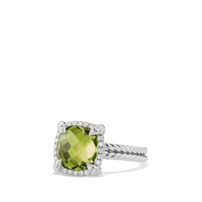 Chatelaine Pave Bezel Ring with Peridot and Diamonds in 18K White Gold, 9mm