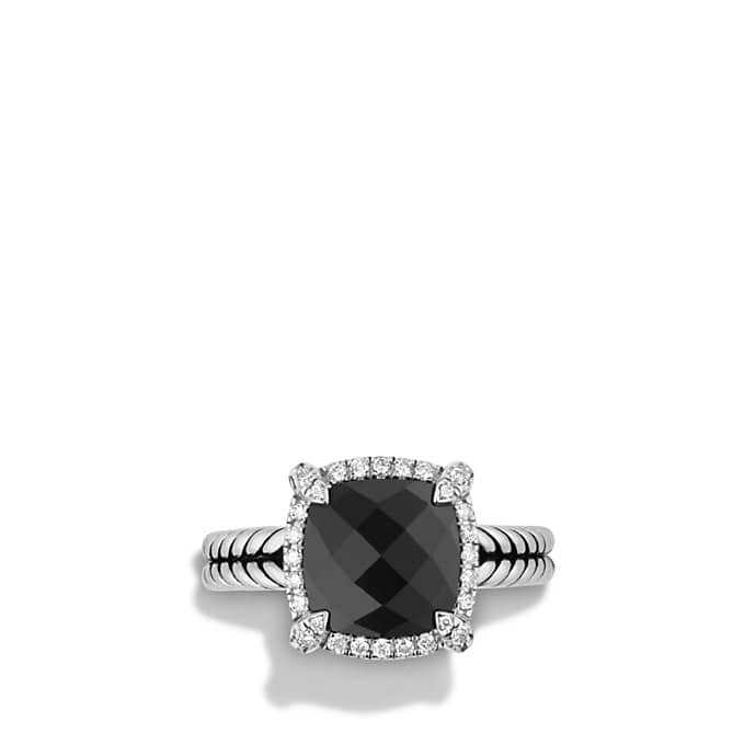 Chatelaine Pave Bezel Ring with Black Onyx and Diamonds, 9mm