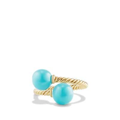 Solari Bypass Ring with Turquoise in 18K Gold