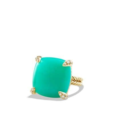Chatelaine Ring with Chrysoprase and Diamonds in 18K Gold, 20mm