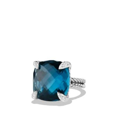 Chatelaine Ring with Hampton Blue Topaz and Diamonds, 20mm