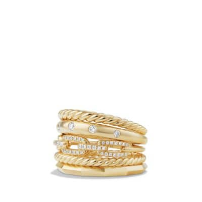 Stax Wide Ring with Diamonds in 18K Gold, 15mm thumbnail