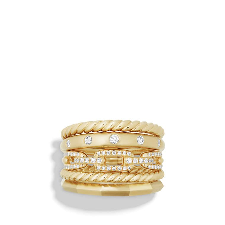 Stax Wide Ring with Diamonds in 18K Gold, 15mm