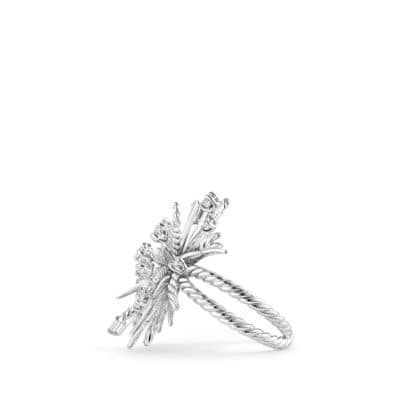 Supernova Ring with Diamonds in 18K White Gold, 33mm