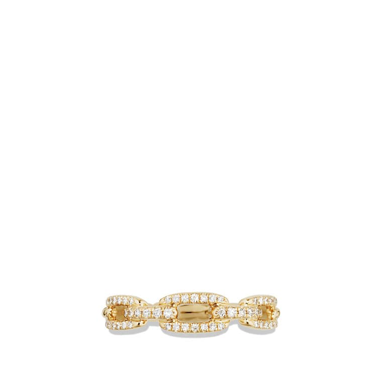 Stax Single Row Pave Chain Link Ring with Diamonds in 18K Gold, 4.5mm