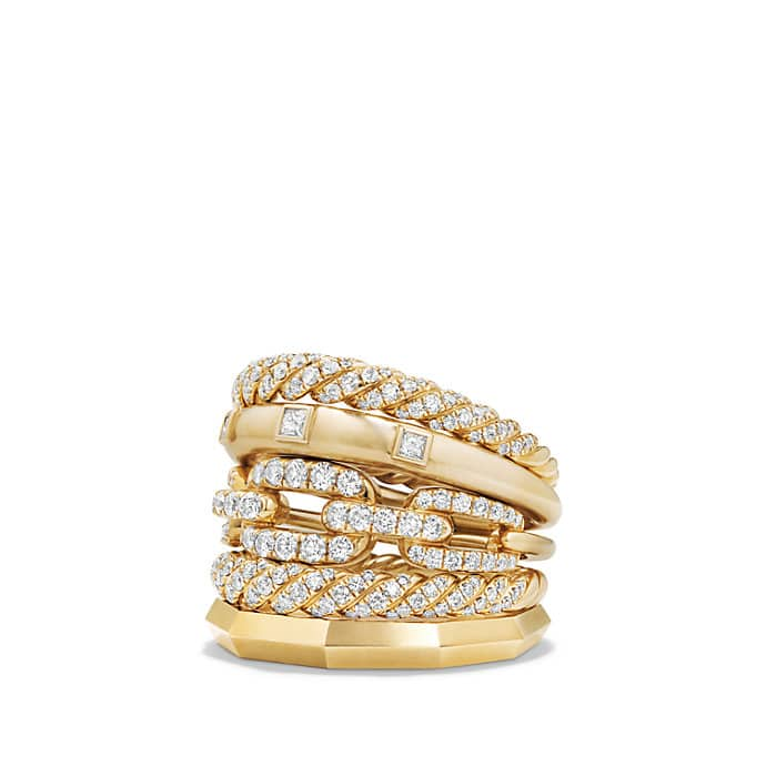 Stax Five Row Ring with Diamonds in 18K Gold, 21mm