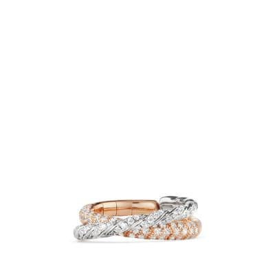 Pavéflex Two Row Ring with Diamonds in 18K Rose and White Gold