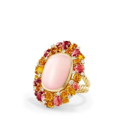 Mustique Statement Ring with Pink Opal, Citrine, Pink Tourmaline and Diamonds in 18K Gold