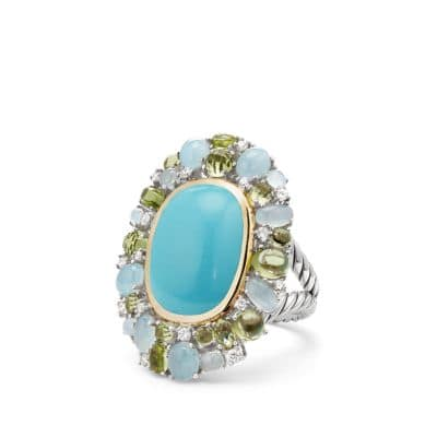 Mustique Statement Ring with Turquoise, Peridot, Milky Aquamarine and Diamonds