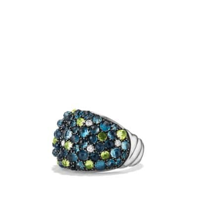 Osetra Dome Ring with Hampton Blue Topaz, Peridot and Diamonds, 17mm