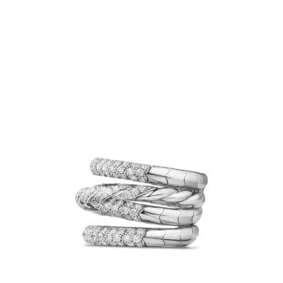 Pavéflex Four Row Ring with Diamonds in 18K White Gold