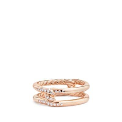 Continuance® Band Ring with Diamonds in 18K Rose Gold, 6.5mm