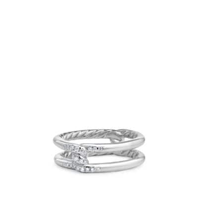 Continuance® Band Ring with Diamonds in 18K White Gold, 6.5mm