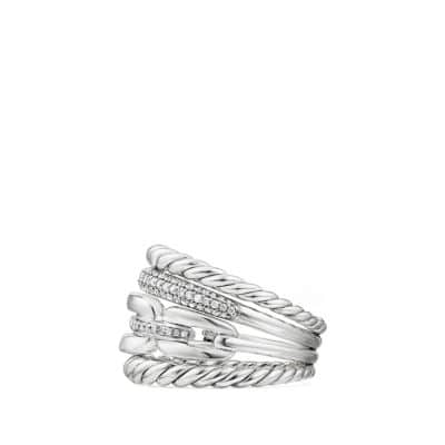 Wellesley Link™ Four-Row Ring with Diamonds, 16.5mm
