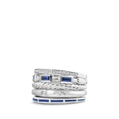Stax Ring with Sapphires, Blue Enamel and Diamonds in 18K White Gold, 13mm