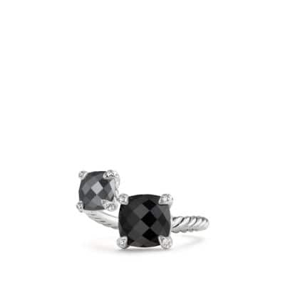 Chatelaine® Bypass Ring with Black Onyx, Hematine and Diamonds