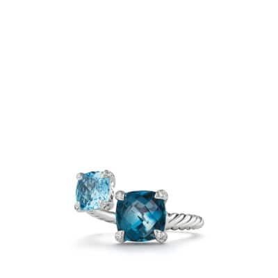Chatelaine® Bypass Ring with Hampton Blue Topaz, Blue Topaz and Diamonds