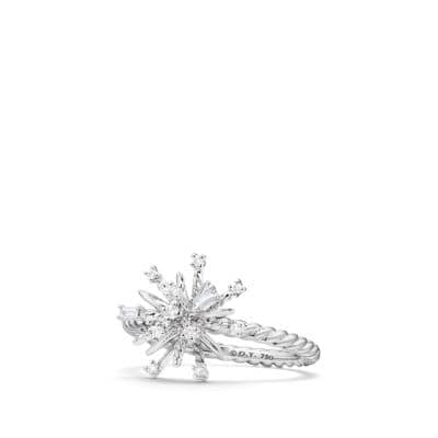 Supernova Ring with Diamonds in 18K White Gold
