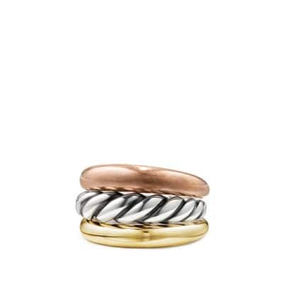 Pure Form® Mixed Metal Three-Row Ring with Bronze, Silver and Brass