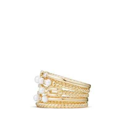 Petite Perle Multi Row Ring with Pearls and Diamonds in 18K Gold