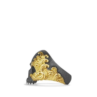 Waves Large Skull Ring with 18K Gold