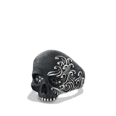 Waves Large Skull Ring with Black Diamonds thumbnail