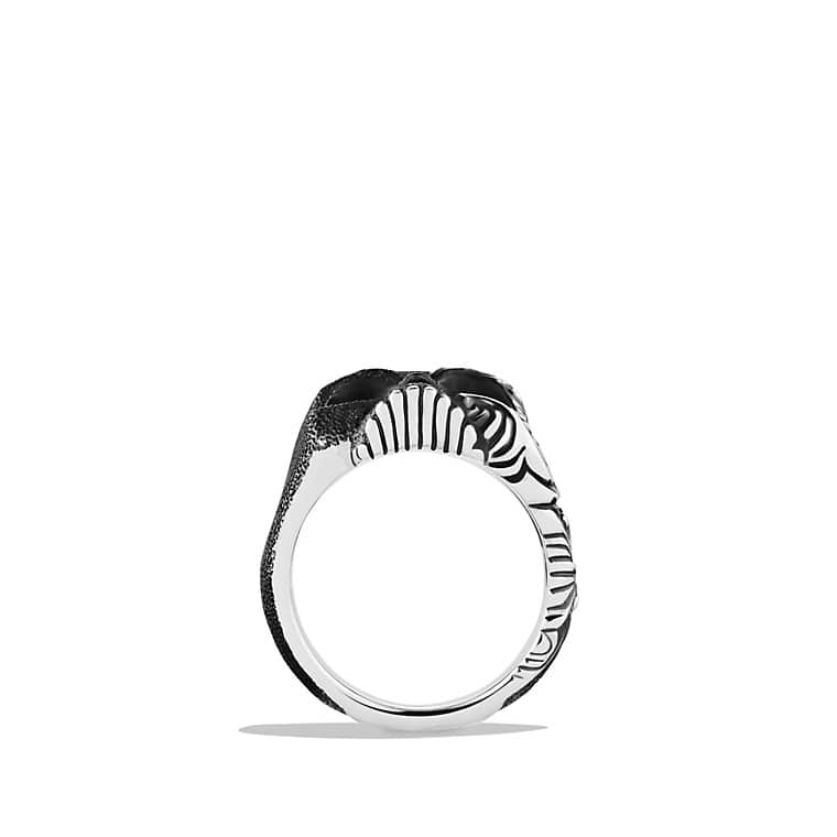 Waves Large Skull Ring with Black Diamonds