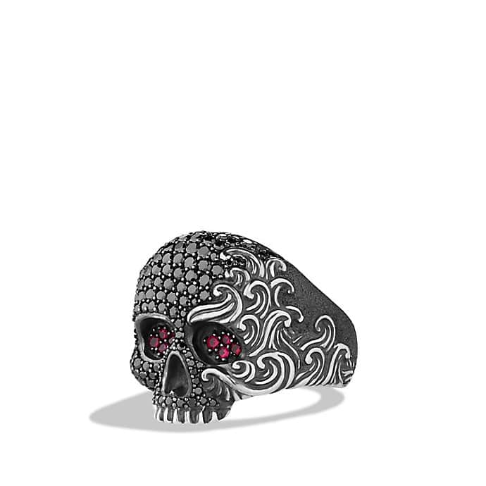 Waves Large Skull Ring with Black Diamonds and Rubies