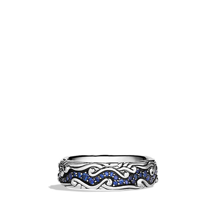 Waves Narrow Band Ring with Blue Sapphires