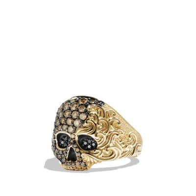 Waves Small Skull Ring with Cognac and Black Diamonds in 18K Gold