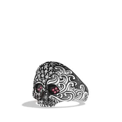 Waves Small Skull Ring with Ruby and Black Diamonds