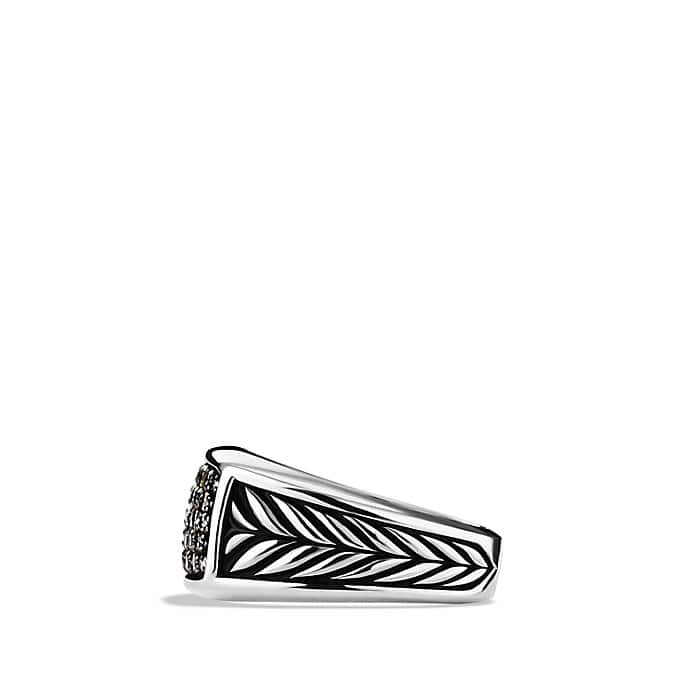 Chevron Narrow Ring with Black Diamonds