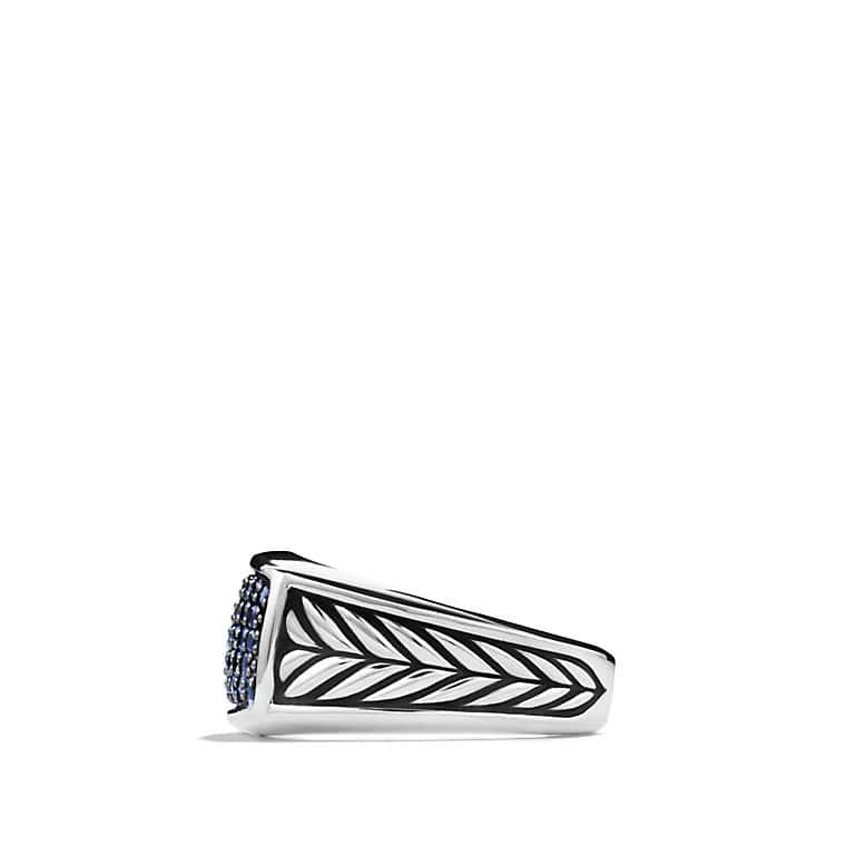 Chevron Narrow Ring with Blue Sapphires