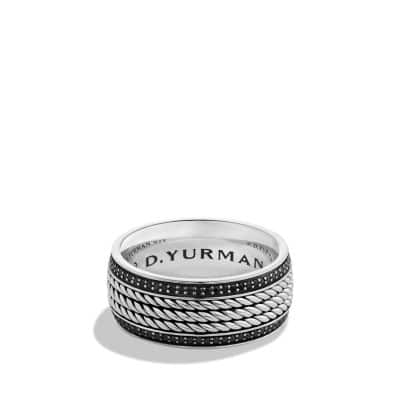 Maritime Rope Band Ring with Black Diamonds