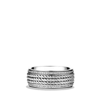 Maritime Rope Band Ring with Diamonds