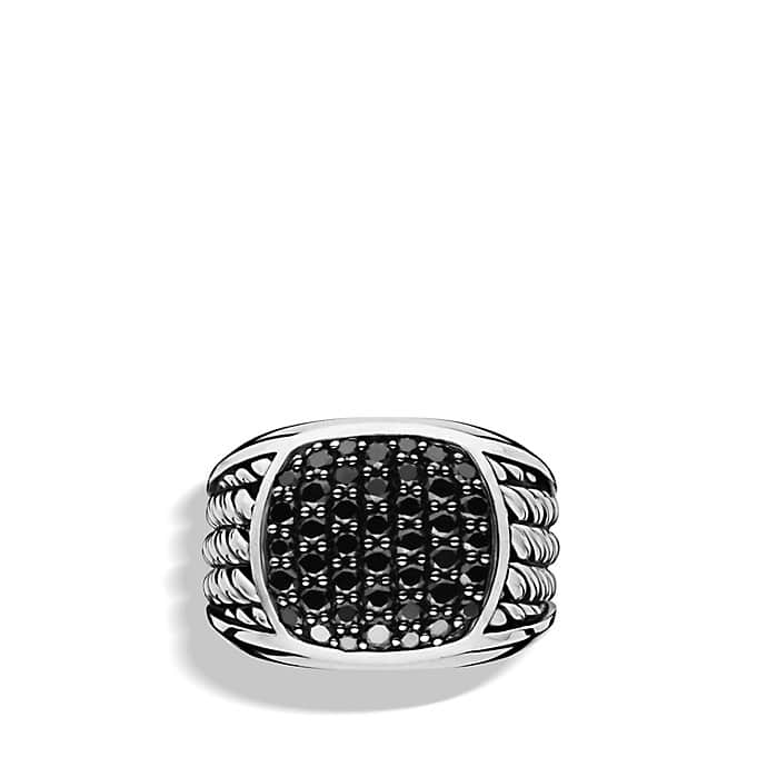 Maritime Rope Signet Ring with Black Diamonds