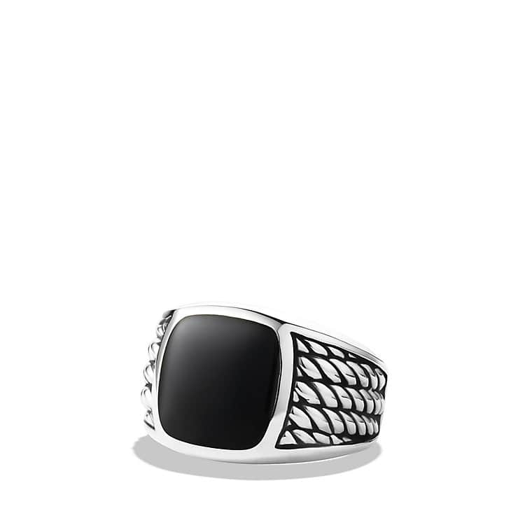 Maritime Rope Signet Ring with Black Onyx