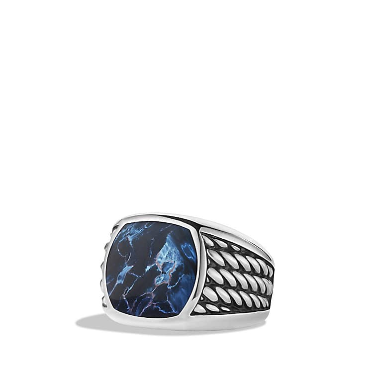 Maritime Rope Signet Ring with Pietersite