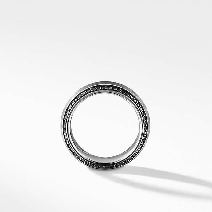 Meteorite Knife-Edge Band Ring with Black Diamonds