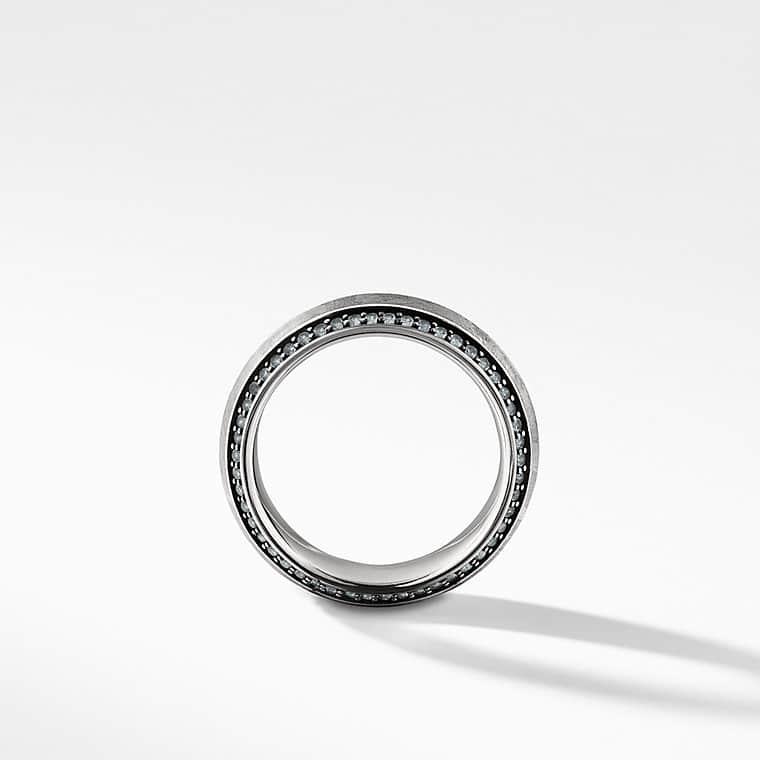 Meteorite Knife-Edge Band Ring with Gray Sapphires