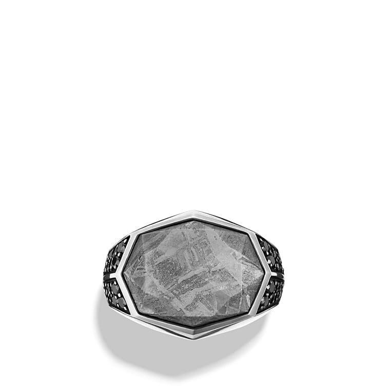 Meteorite Signet Ring with Black Diamonds